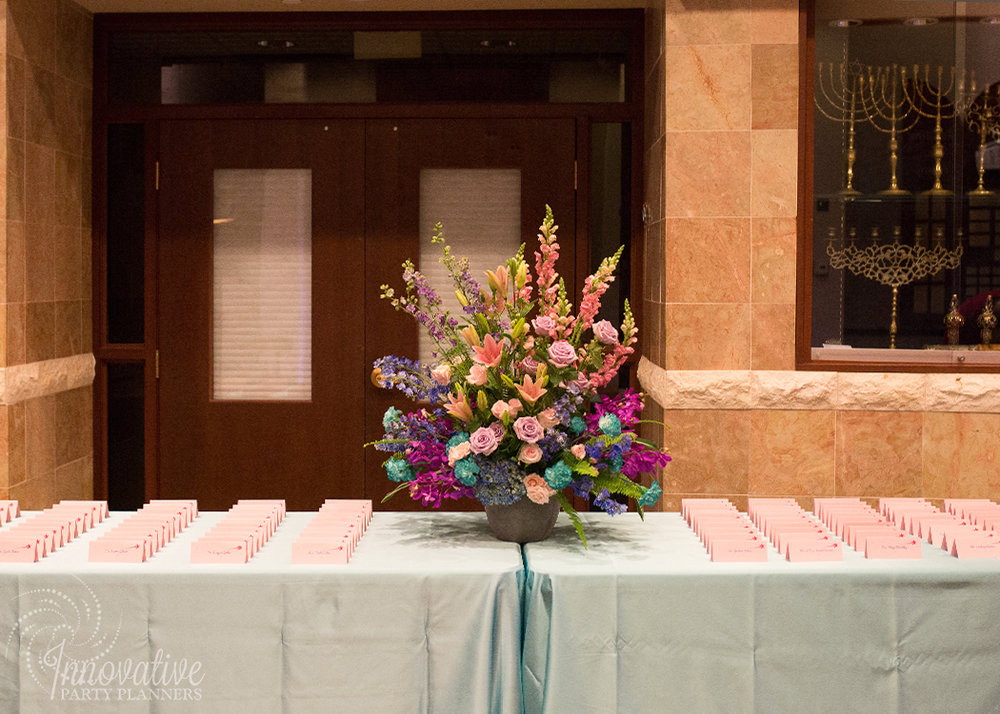 Abby's Starry Night | Placecard Table with feature Flower Arrangement by Innovative Party Planners