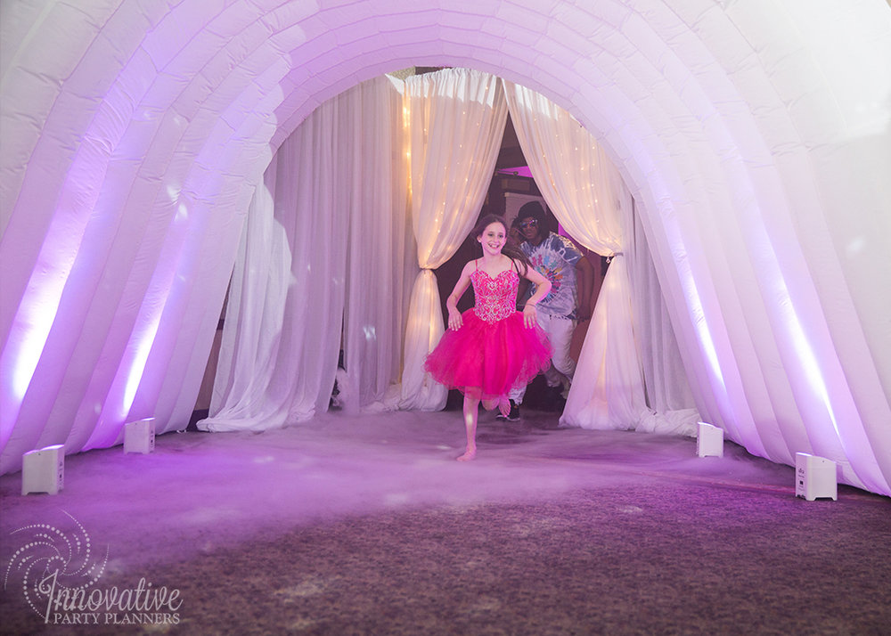 Abby's Starry Night | Bat Mitzvah Grand Entry Tunnel floating in above the clouds by Innovative Party Planners