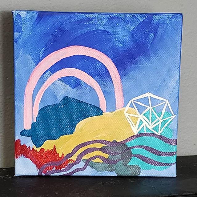 """Now available on my Etsy shop (Sweitzer Studios)  Fir this series, """"Have We Been Here Before?"""" I am painting abstract Landscapes. I enjoy how quickly our brains identify images as landscapes, even when given very little visual information. I try to play off of this part of our brains. I want to see how abstracted or unclear can I make an artwork that our brains still interpret as an image of land, sky, rivers, rain, and foliage. . . . #abstractart #art #abstractlandscape #landscape #artforsale #etsy #carveouttimeforart #doitfortheprocess #dothework #indyartist #indianapolisartist #supportlivingartists #acryliconcanvas #thrivemastermind #femaleartist #artist #artiststatement"""