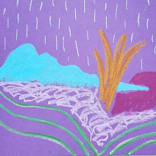 The rain in #indy is working it's way into my drawings today in the #studio . . . #indyartist #indianapolisartist #indianapolis #rain #oilpastel #drawing #abstractart #abstract #abstractlandscape #carveouttimeforart #femaleartist #etsyseller #dothework #doitfortheprocess