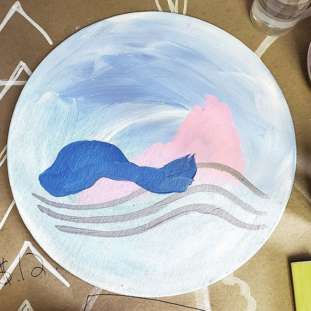 #workinprogress #lastdayofsummerbreak . . . #art #artist #wip #indyartist #indianapolisartist #femaleartist #thrivemastermind #dothework #doitfortheprocess #carveouttimeforart #acryliconcanvas #circle #circlepainting #abstractart #abstractlandscape #landscape