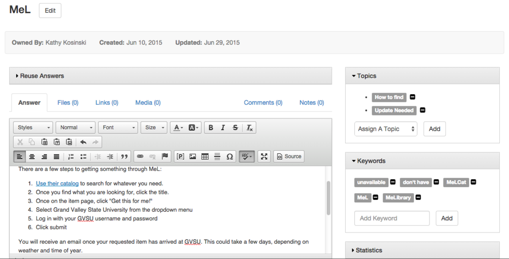 The LibApps interface while I am creating an entry for the knowledge base, specifically MeL in this case.