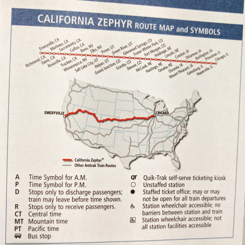 The route taken by the California-Zephyr.