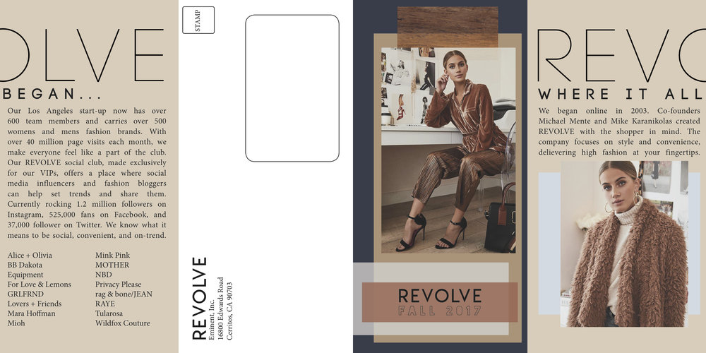 revolve brochure outside - [CLICK TO ZOOM] 4-Panneled Gate-Front Brochure with Mailing Panel for REVOLVE Clothing. Los Angeles, CA.