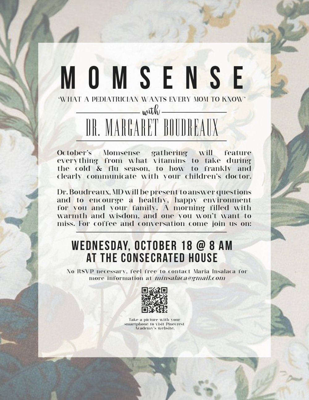 MOMSENSE full-page  - [CLICK TO ZOOM] Flyer for Momsense Event at Pinecrest Academy. Featuring a QR code linking to pinecrestacademy.org