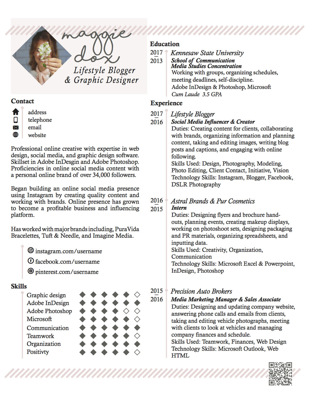 CREATIVE RESUME - [CLICK TO ZOOM]A simple, stylish design that works for any creative seeking an eye-catching result.