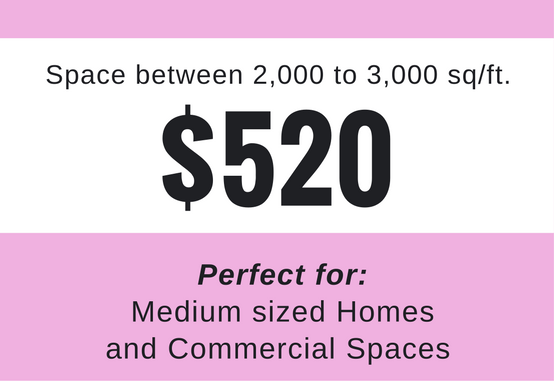 2,000 to 3,000 Sq/Ft - For properties in the mid range. This is one of our most popular packages and includes any property up to 3,000 sq/ft. These are for medium sized homes and commercial spaces.