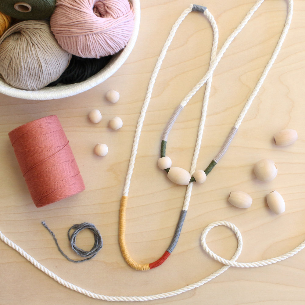 Wrapped fiber necklace DIY craft project