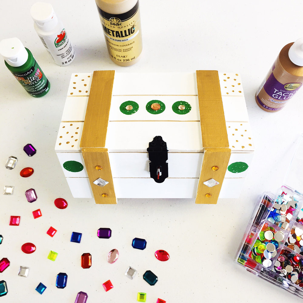 Paint your own wooden treasure chest