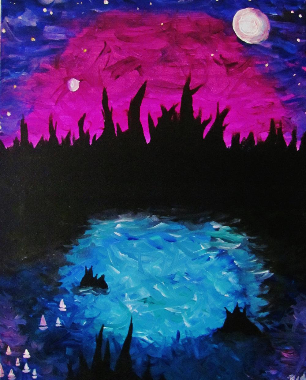 """Moon Mountain."" Acrylic on Canvas, 2014."