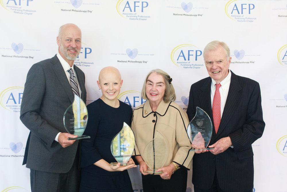 2018 NPD Honorees - John Bumpus, LifePoint Health - Corporate Philanthropist of the Year; Hannah Grubbs, Rising Volunteer Fundraiser of the Year; Debbie Craig, Philanthropist of the Year; Pete Nebhut, Volunteer Fundraiser of the Year.