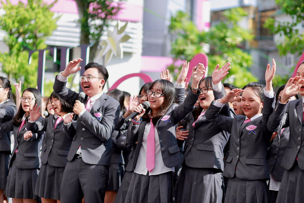 A singing performance by students