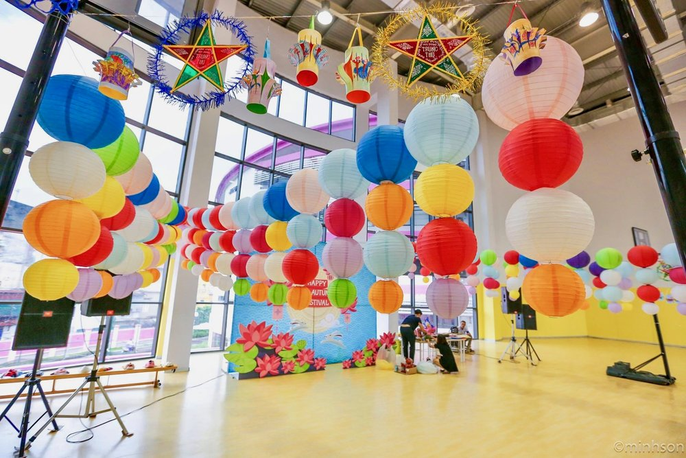 Paper Lanterns decorate the Sports Hall for our celebration