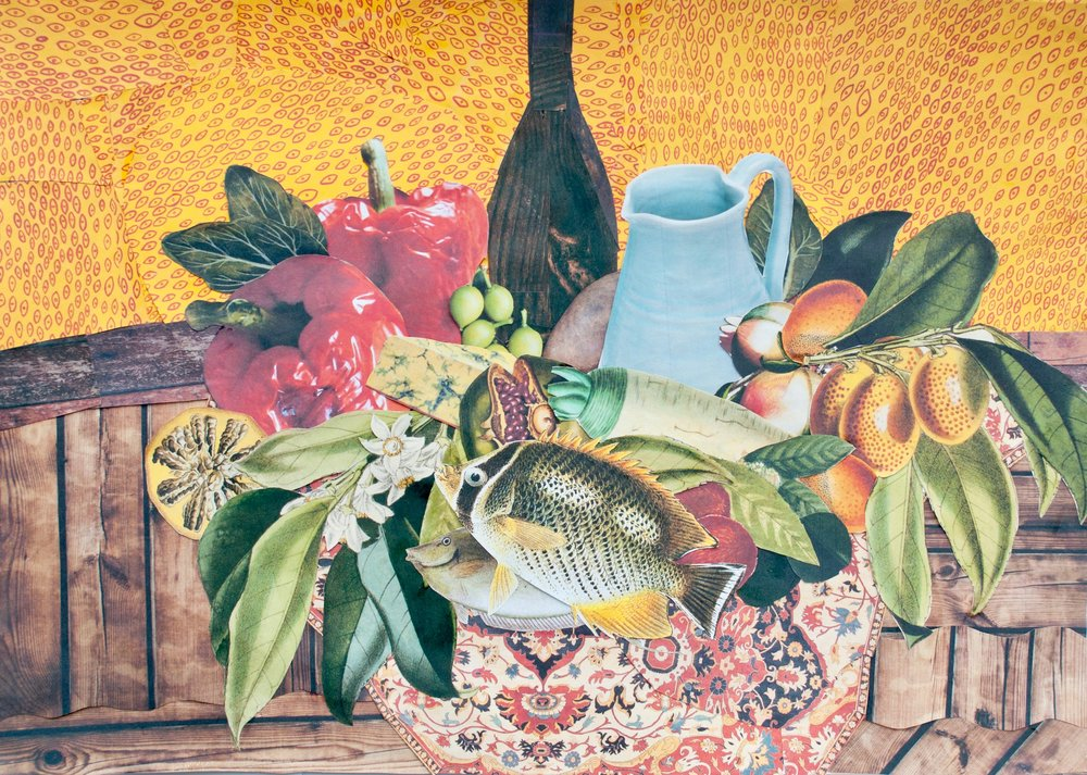 """A nutrition-themed still life collage by Thùy (Year 11) titled """"Still Life after Paul Cézanne's 'The Basket of Apples'"""""""