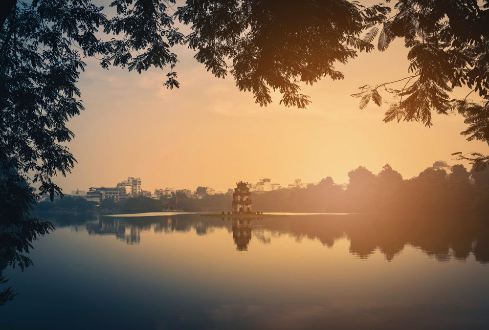 Turtle Tower in Hoan Kiem Lake sunrise.jpg