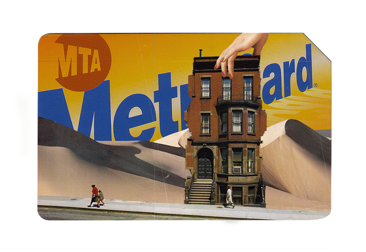 vintage collage metro cart art new york