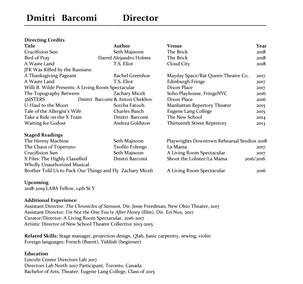 Resume — Dmitri Barcomi