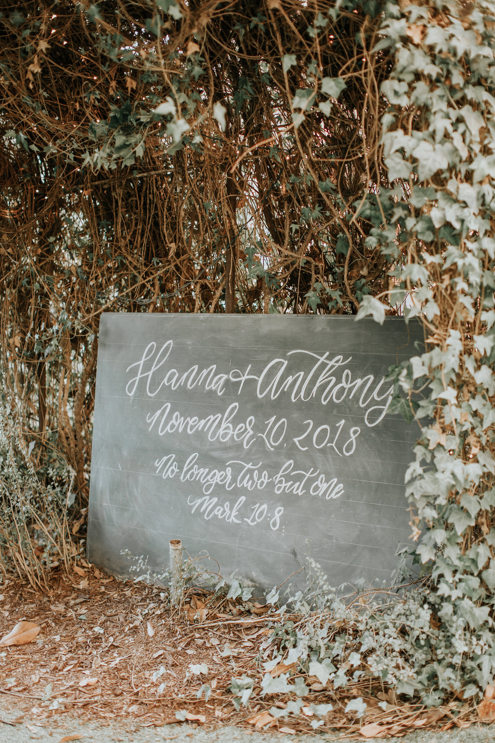 twin oaks house wedding calligraphy