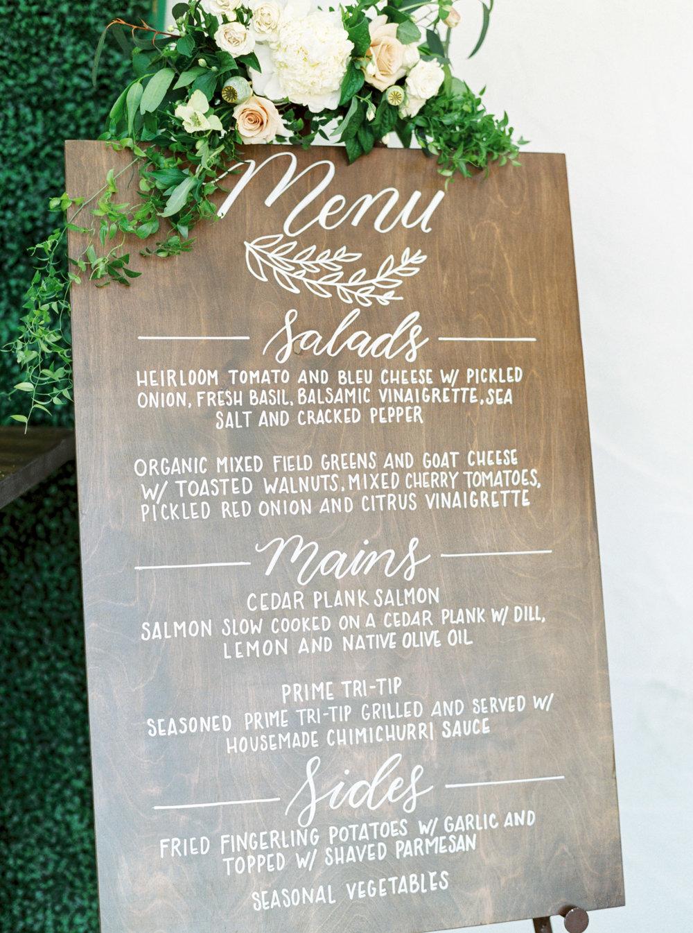 wood wedding menu calligraphy