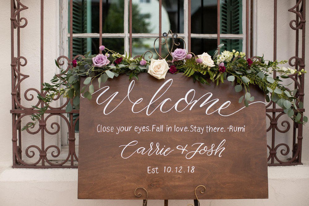 wood welcome sign calligraphy san diego