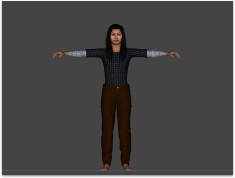 Used FaceGen to generate the face from real photos and imported the face to Daz Studio to customize the avatar's body, hair and clothing.