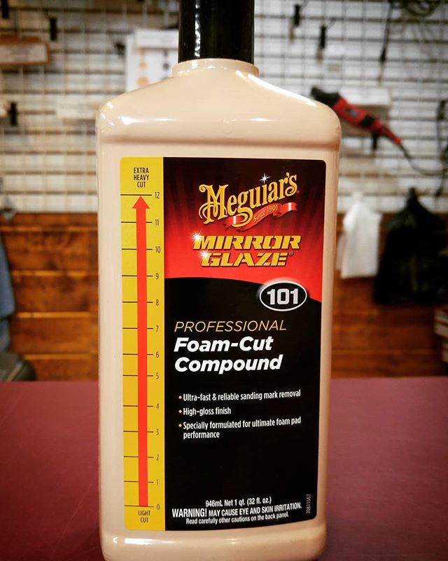 !!Alert‼✨New product in-store!! Meguiars M101 Foam Cut Compound is an ultra heavy cut compound thats designed to remove all types of paint defects including swirls, oxidation, sanding marks, scratches, and basically anything else that hinders the appearance of your paint. 🚗✨ #cars #detailing #sanbernardino #protection #flow-kem #meguiars #scratches #professional #carwash #car show #cutting #redlands #csbrite #cardetailing #supplies #cleanride #detailingworld #qualitycleaning #inlandempire #waxing #buffing #polish #tire #leather #dressing #degreaser #detailersofinstagram #carwash