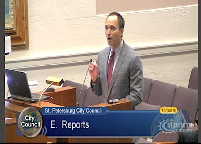 John Forney, CEO, United Insurance Holdings Corp., speaking at the St. Petersburg City Council