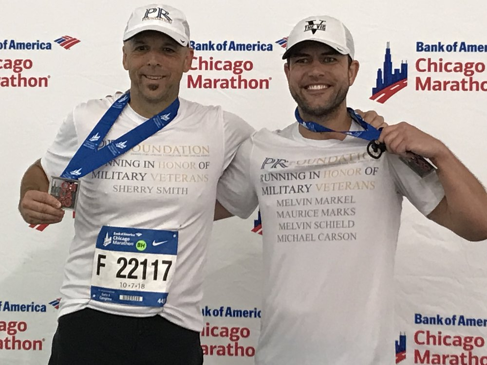 Congratulations to PR Foundation co founder Robert Kabakoff and Ryan Marks from Team PR Foundation after the 2018 Chicago Marathon on October 7th for raising funds for military veterans.
