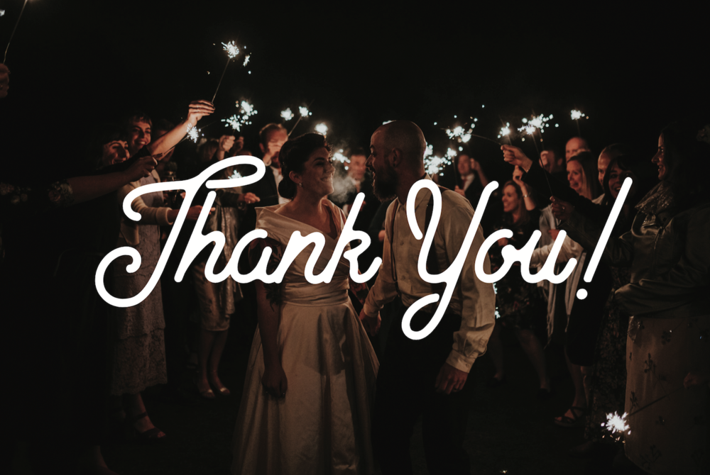 Thank you! state of love and trust wedding booking form