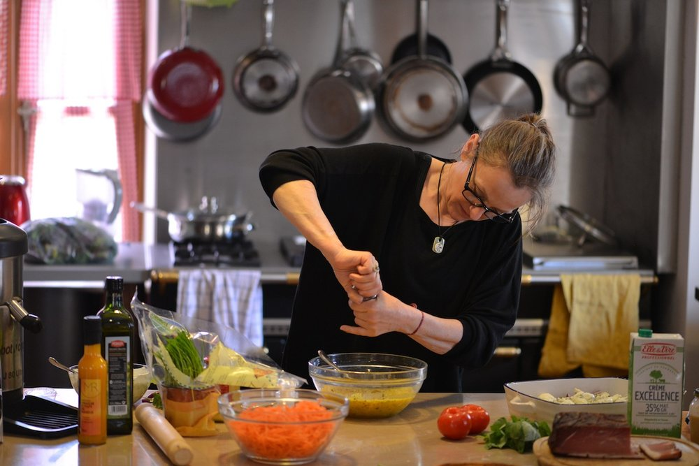 Katherine Frelon preparing supper for a special occasion