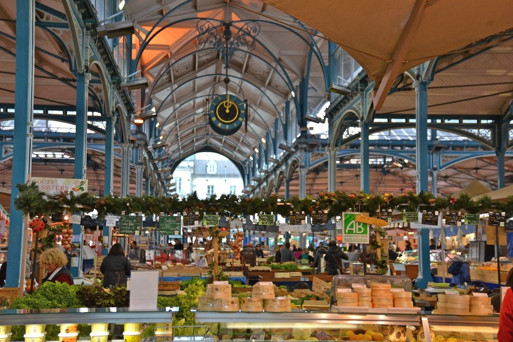 Dijon Market for cheeses, saucisson, yoghourt, meats, herbs, fruit and vegetables