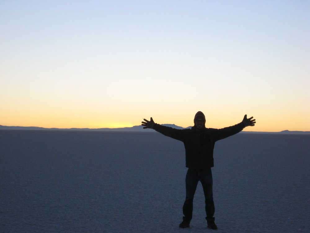 The author of Nerve 10, Jordan Brown, waiting for sunrise on a salt flat