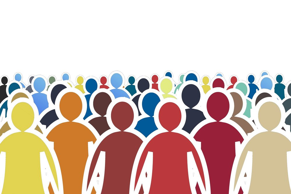 multi-colored crowd graphic