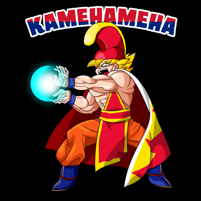 King Kamehameha - Super Saiyan Goku dawns the traditional garb of the Hawaiian king for which his most famous attack gets it's namesake! The title attack features the colors of the Hawaiian flag.