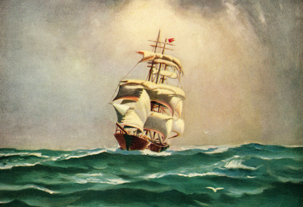 Vintage calendar art of ships, boats, marine scenes