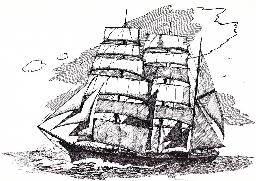 Vintage sailing ship pen & ink drawings
