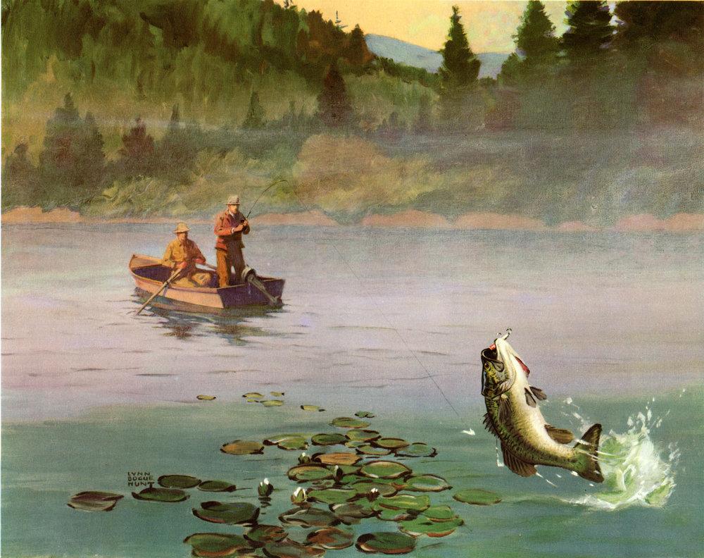 Vintage Fishing Prints (The Field & Stream Portfolio, Fishing in America,  Lynn Bogue Hunt prints, 1946)
