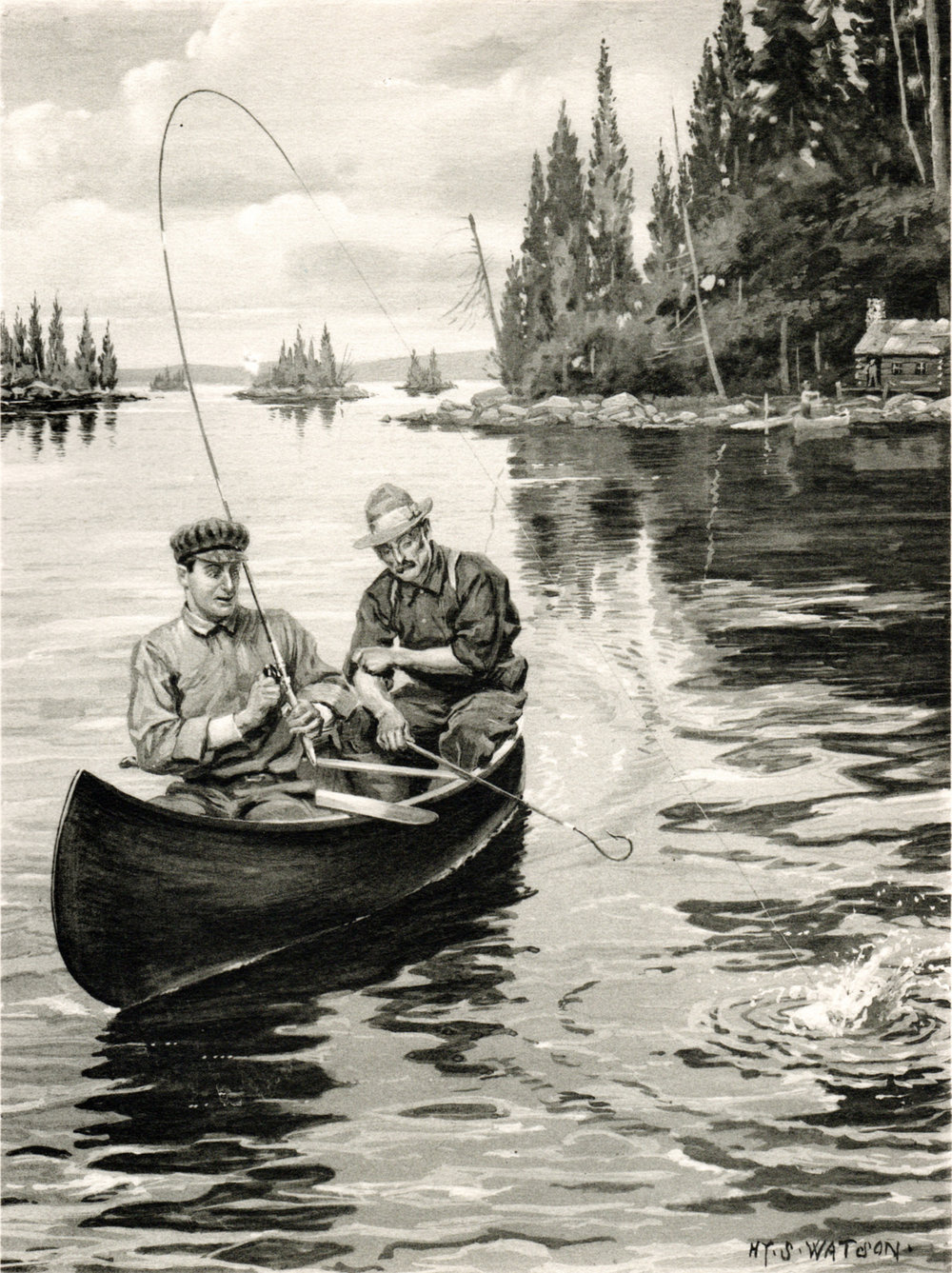 Watson, Hy S. / Fishing & Hunting scenes (1904-07)http://www.darvillsrareprints.com/Denton%20Fish%20New%20York%20Forest%20Fish%20and%20Game%20Commission%201904-1907%202.htm