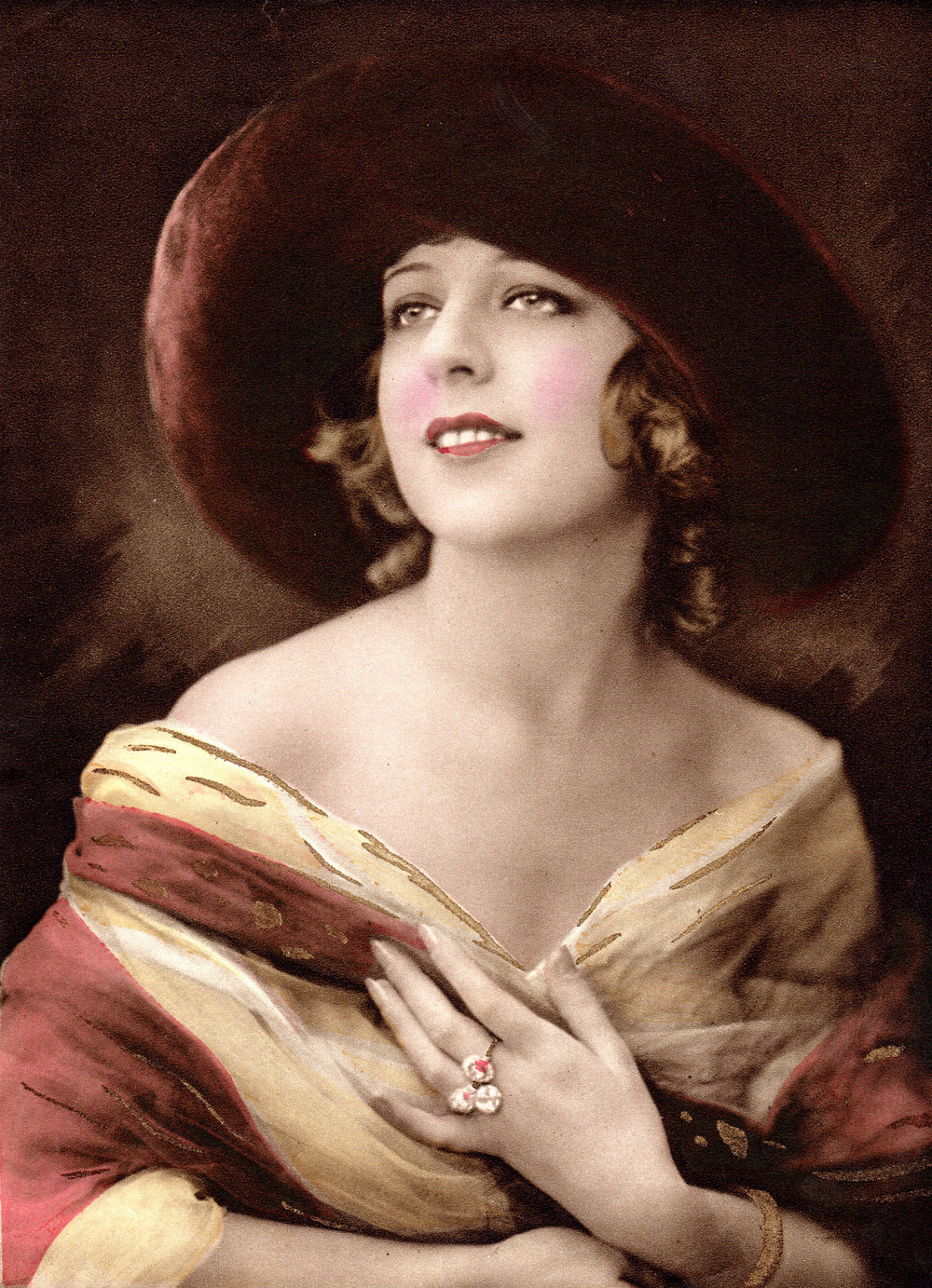 Hand-coloured German photogravure portraits from the early 20th century