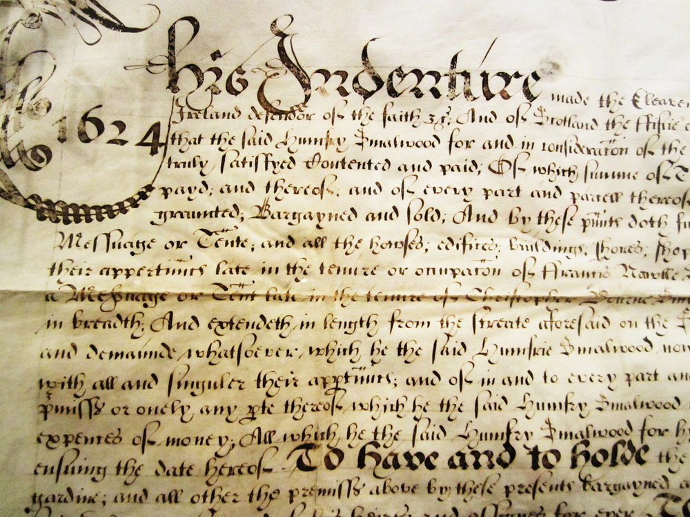 Antique indentures, contracts, treaties, etc.