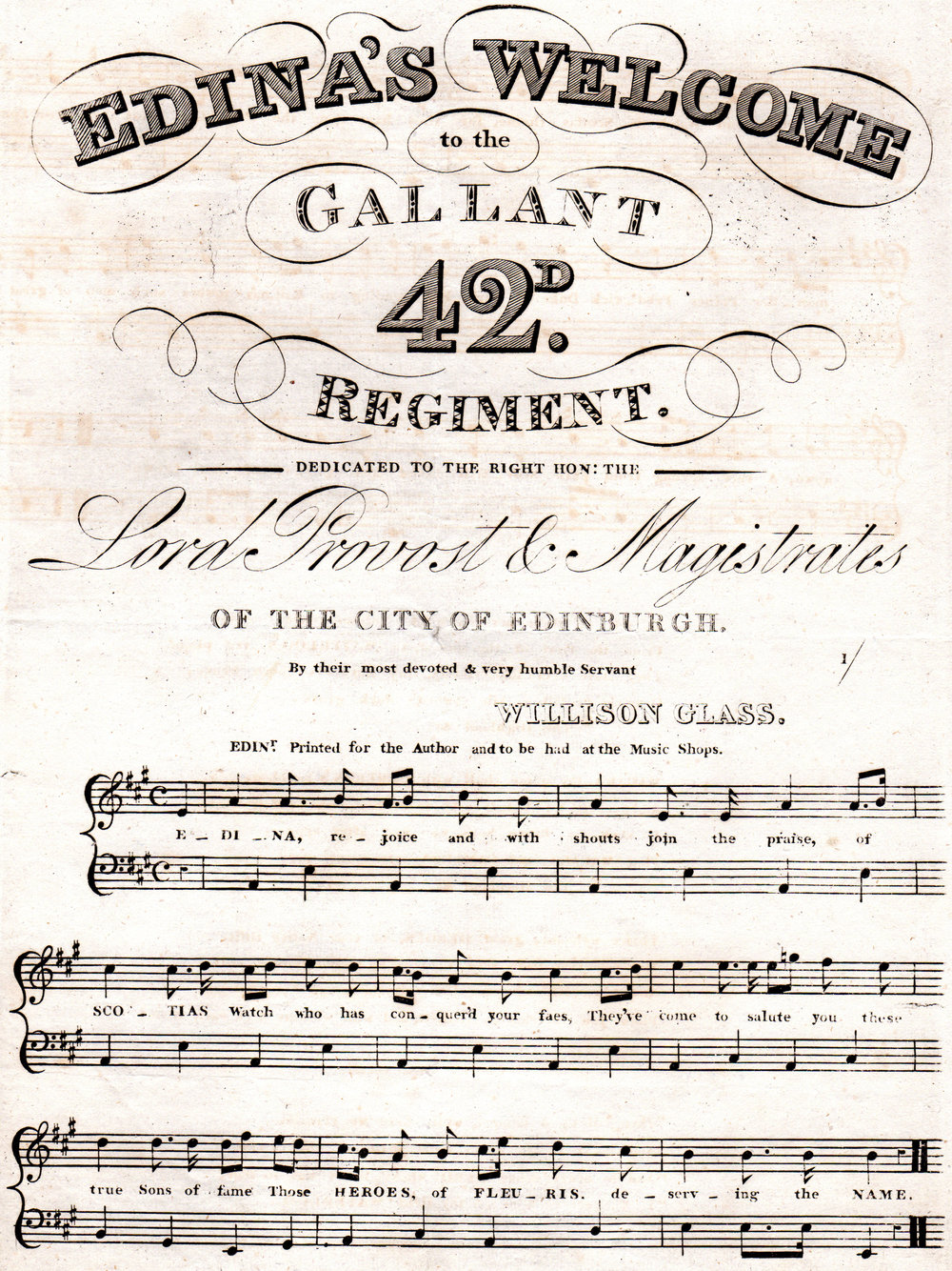 Early 19th-century engraved sheet music