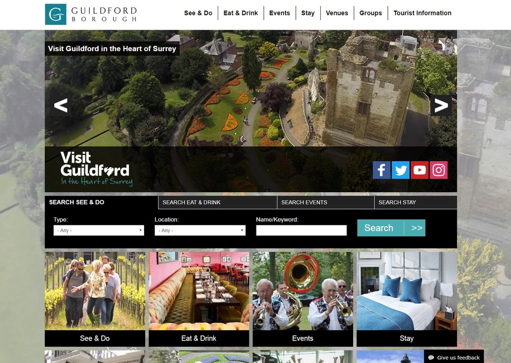 Visit Guildford Website Drone