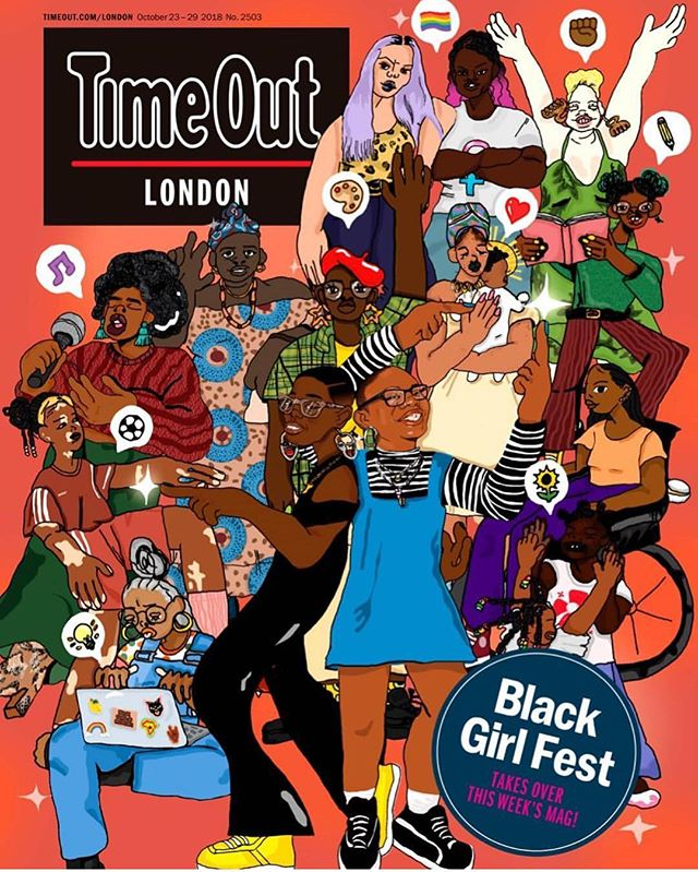 How awesome is this,on the front cover of and taking over the entire @timeoutlondon magazine this week! @blackgirlfest we are so excited to be delivering a workshop with @thedoctormummy and hanging out afterwards. Last year the vibes were high we were cheesing all day 😁. - Thank you for doing this very important work 💜💜💜 #blackgirlfest #blacklove