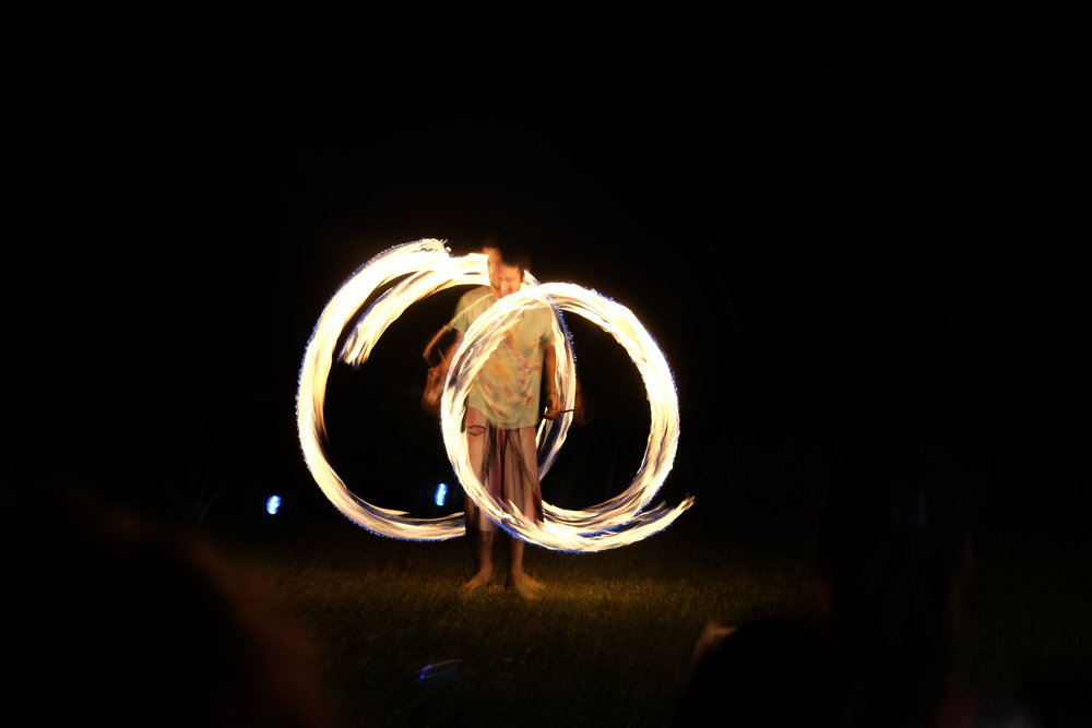 Diamante Valley fire-spinner showcasing the art of Poi, a form of fire dance where the weights on the end of tethers are swung in rhythmic patterns! We loved having Angel and his wife Alicia perform on our last Diamante retreat!