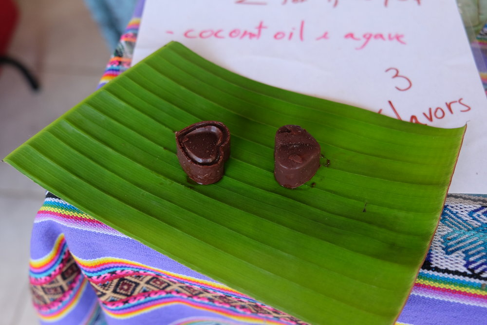 We love having a cacao ceremony but no chocolate is tastier than the glistening RAW chocolate at the Tinamaste market. It melts in your mouth and melts your heart!