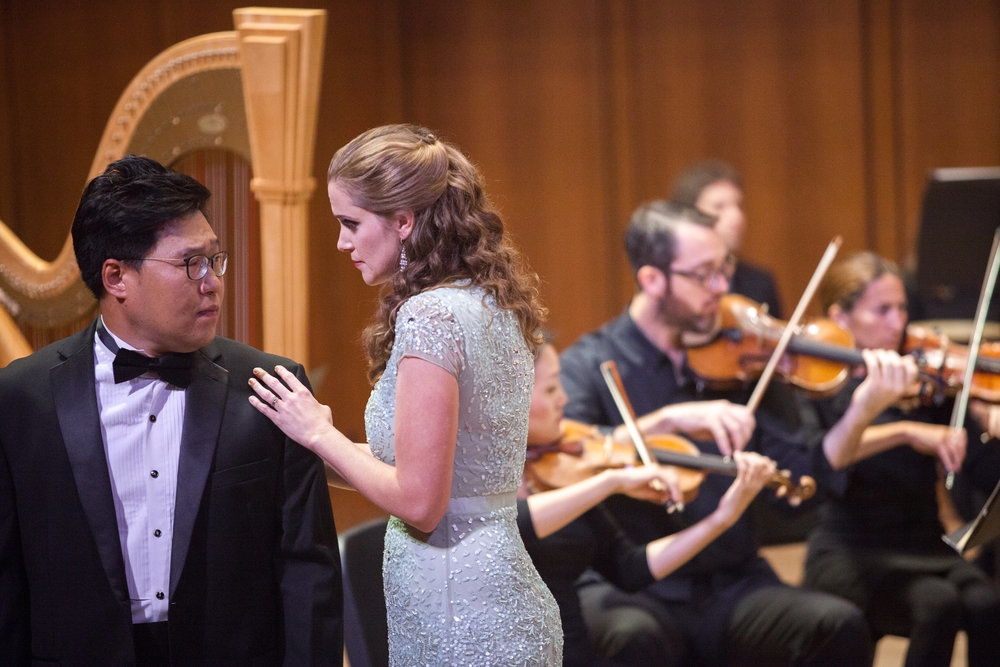 Julia Tyler, soprano, and Soonchan Kwon, tenor, singing a duet.