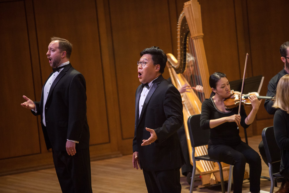 Soonchan Kwon, tenor, and Benjamin Cox, performing a duet.