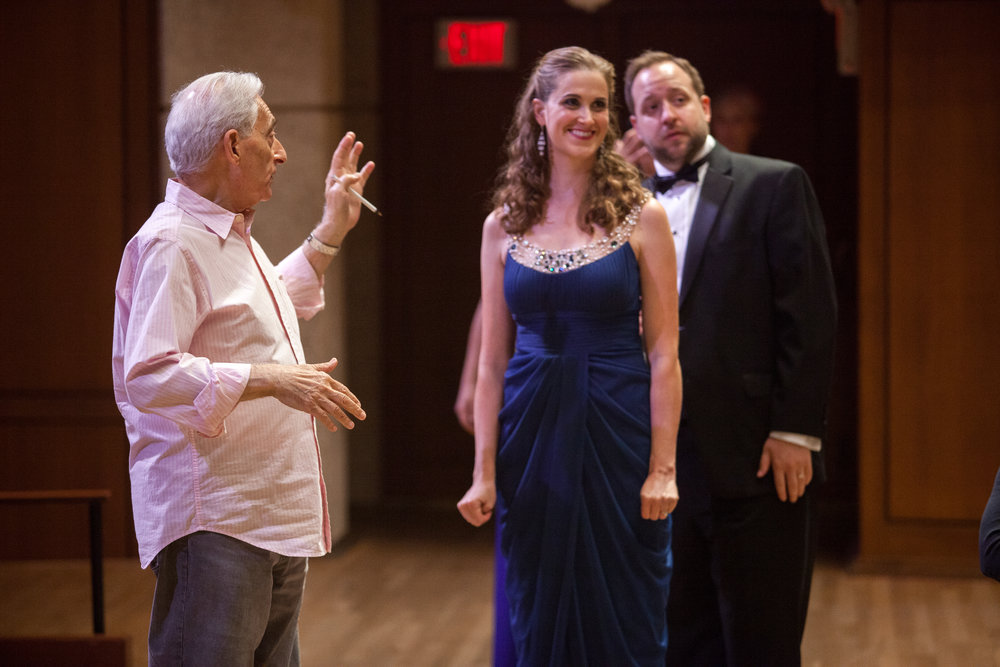 Dr. Robert DeSimone, Director of the Butler Opera Center, working with Julia Taylor, soprano, and Benjamin Cox, baritone.