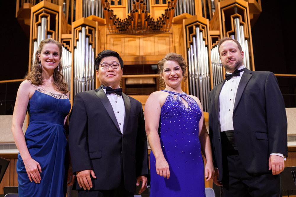 "Julia Taylor (soprano), Ellie Jarrett-Shattles (mezzo-soprano), Soonchan Kwon (tenor), and Benjamin Cox (baritone) sing arias, duets, and a quartet with the Round Rock Symphony, including ""Sulla tomba che rinserra"" from Lucia di Lamermoor, the Habanera from Carmen, ""Au fond du temple saint"" from Les pêcheurs de perles, ""Sempre Libera"" from La Traviata, ""Mira o Norma"" from Norma, ""Questa o quella"" and ""Bella figlia del' amore"" from Rigoletto."