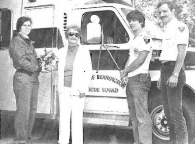 25,000th call - Marion Rabideau, and the crew that transported her (L-R); Rocky Crawford, Rabideau, Andy Wilkinson, Nick Mayer.